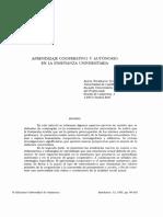 Aprendizaje Cooperativo y Autonomo en La