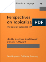 [Typological Studies in Language 14] John Hinds (Ed.), Shoichi Iwasaki (Ed.), Senko K. Maynard (Ed.) - Perspectives on Topicalization_ the Case of Japanese WA (1987, John Benjamins Publishing Company)
