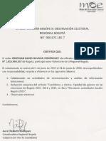 Certificado Misión de Observación Electoral (MOE) Regional Bogotá (2015-2016).