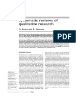 Systematic Reviews of Qualitative Research