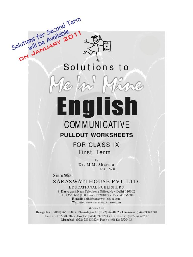 Me n Mine English Ix Answer Book | Literacy | Internet