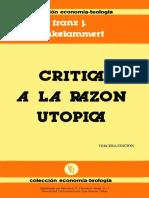 Crítica a la razón utópica · Franz Hinkelammert