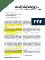 (Resenha) LOBÃO, Ronaldo. Johannes Fabian. the Time and the Other - How Anthropology Makes Its Object. 2. Ed.