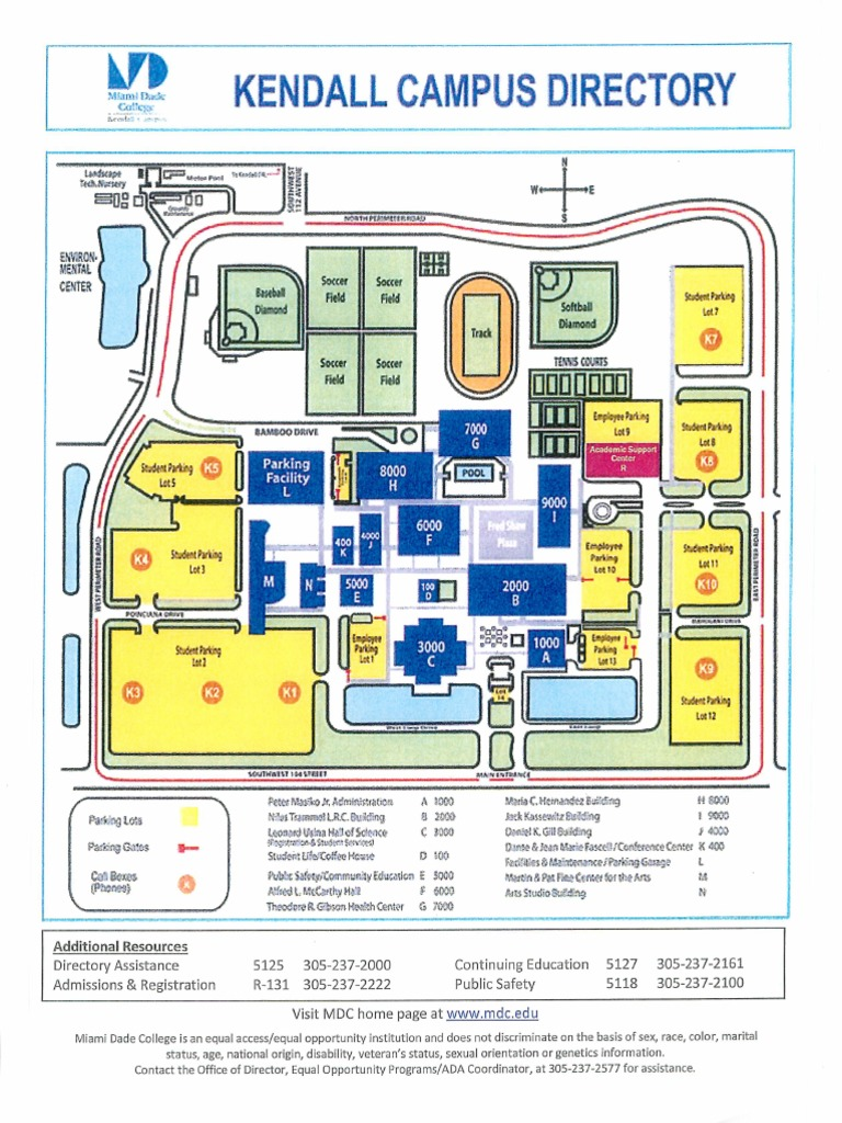 mdc campus map Miami Dade College Kendall Campus Map mdc campus map