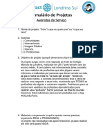 Formulário de Projetos Avenidas
