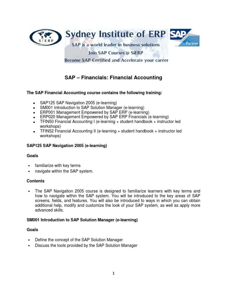 SAP Financial Accounting Outline 2010 | Educational Technology | Sap Se