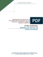 Memoria de Cálculo de Lecho de Secado - PTAR Chapajal