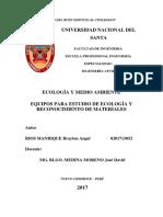 EQUIPO Y MATERIALES PARA EL ESTUDIO DE ECOLOGÍA