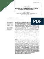 America Latina, La Acumlacion de Capital, La Salud y El Papel de Las Instituciones Internacionales