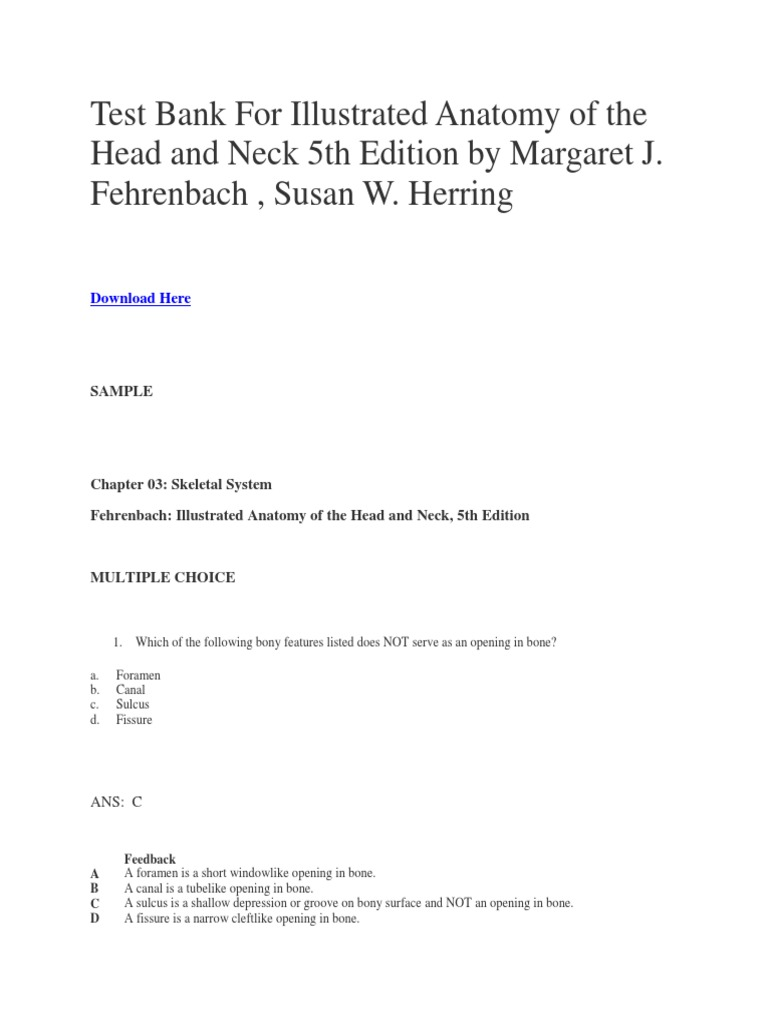 Test Bank For Illustrated Anatomy of the Head and Neck 5th Edition ...