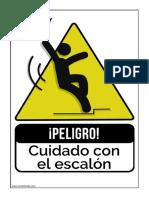 Cartel Cuidado Escalon