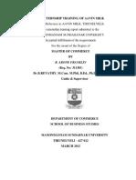 Internship Report Aavin