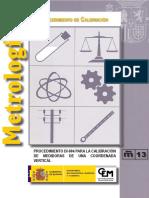Calibración de Medidoras de una Coordenada Vertical