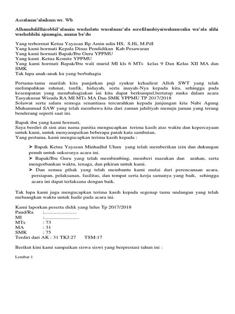 Teks Sambutan Ketua Panitia Wisuda Terbaru Kumpulan Referensi Teks Pidato