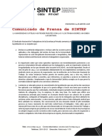 Comunicado de Prensa de SINTEP 04 - 18