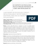Artigo Logoterapia No Contexto Da Psicologia, Reflexões Acerca Da Análise Existencial de Viktor Frankl Como Uma Modalidade de Psicoterapia