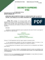 D.S. N 63 Reglamento Aplicación Ley N 20.001