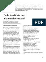 FRIEDEMANN-De La Tradición Oral a La Etnoliteratura