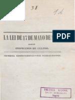 1864 Manuel C. Restrepo - Comentario ley inspección de cultos