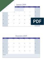 Calendário de 2009 Em Várias Planilhas1