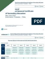 IGCSE Timetable June 2018 International