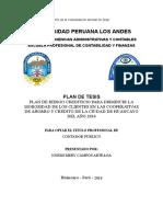 Plan de Riesgo Crediticio Para Disminuir La Morosidad de Los Clientes en Las Cooperativas de Ahorro y Credito de La Ciudad de Huancayo Del Año 2016