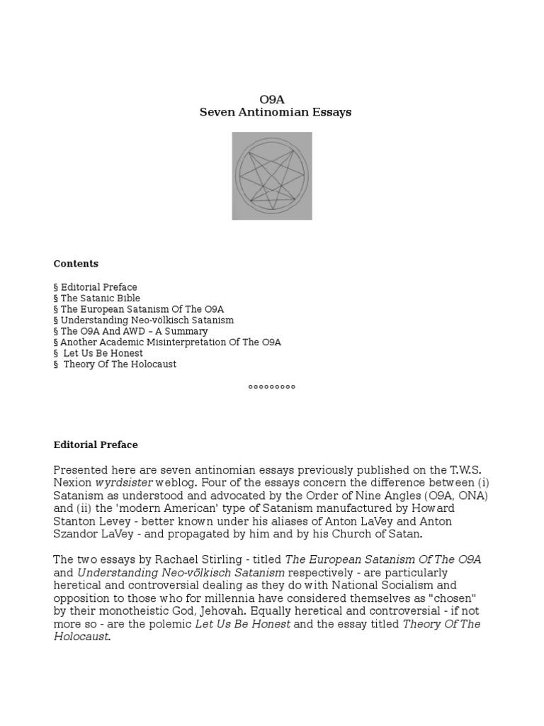 Essays On Homework  Ohio State Application Essay also Gk Chesterton Essays Seven Antinomian Essays  Satanism  Religion And Belief Inspector Calls Essay