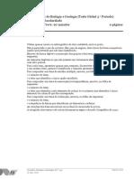 Prova Escrita de Biologia e Geologia_Teste Global 3.o Período