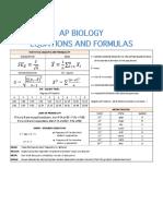 AP Biology Formula Sheets