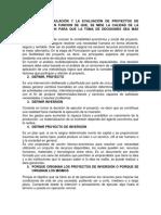 En La Formulación y La Evaluación de Proyectos de Inversión