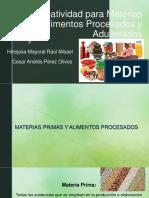 Normatividad de materias primas, alimentos procesado y adulterados