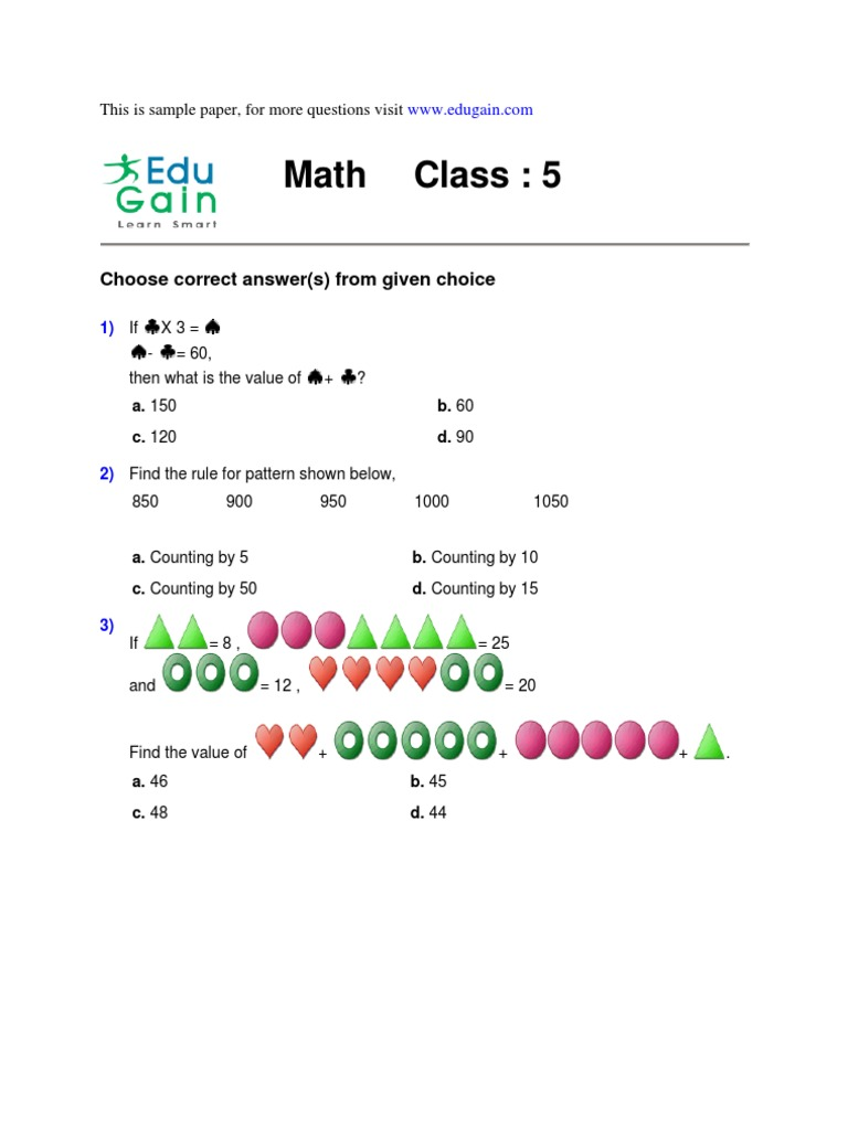 Math Olympiad Class 5 sample Paper