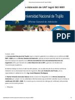 Oficina General de Admisión de UNT Logró ISO 9001 _ DeTRUJILLO