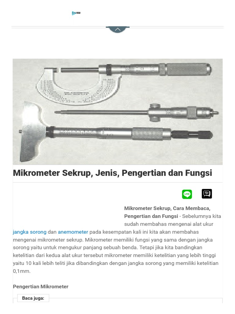 Mikrometer Sekrup Jenis Pengertian Dan Fungsi
