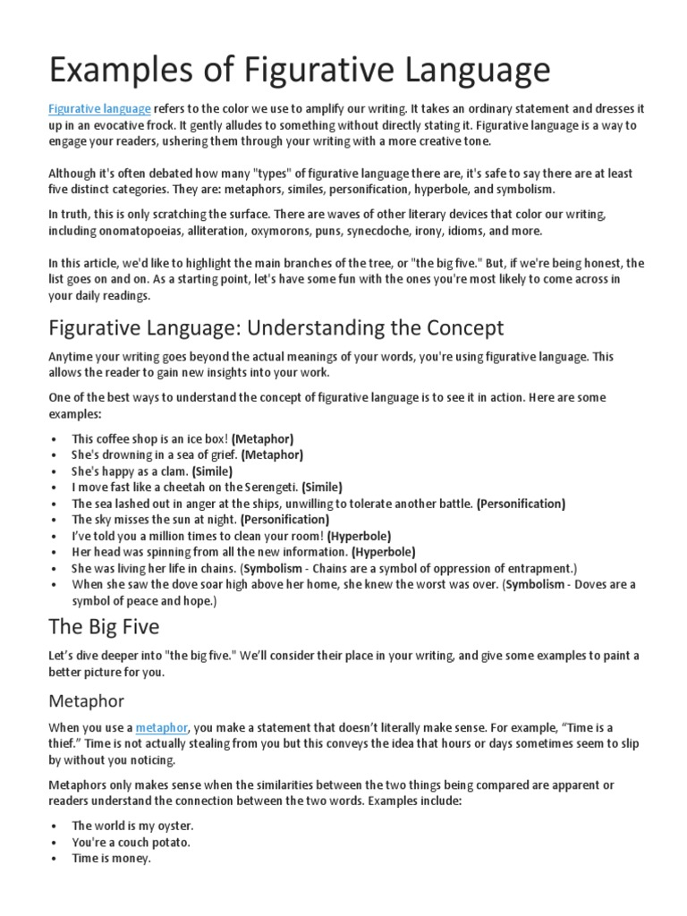 examples of figurative language | metaphor | idiom