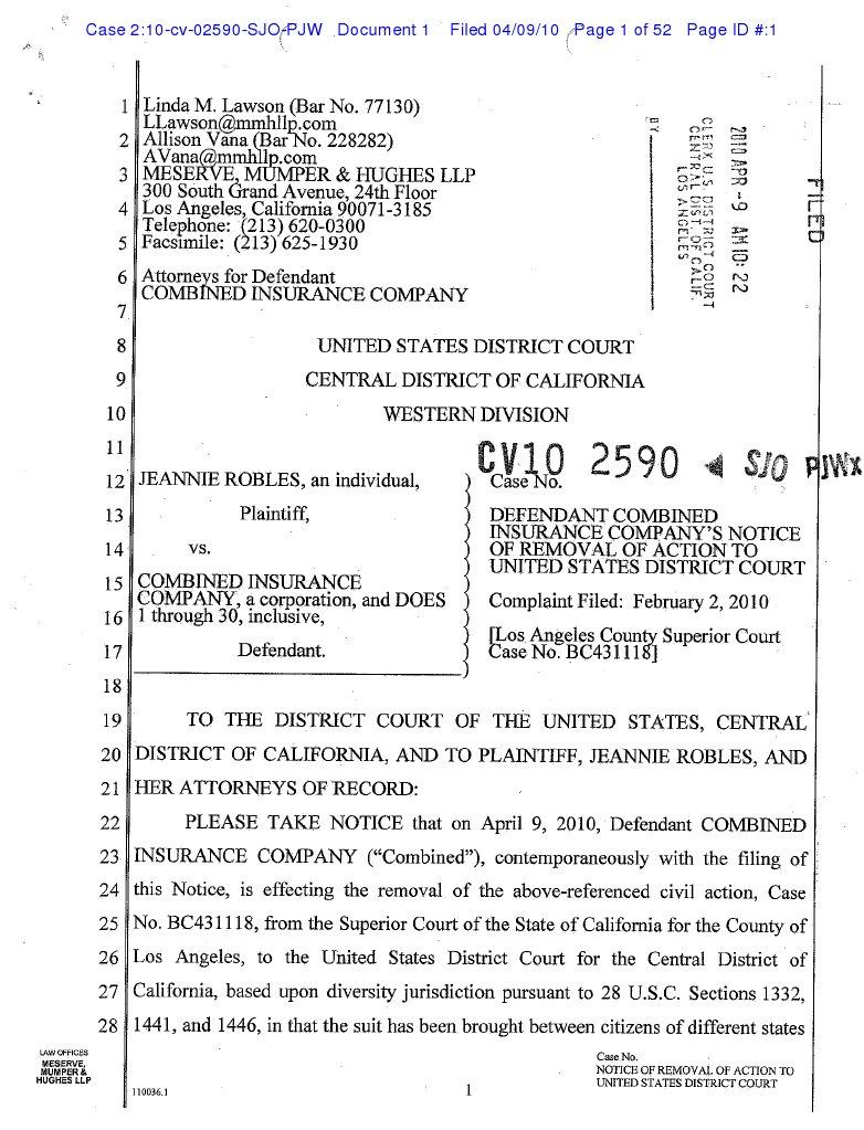 Jeannie Robles V Combined Insurance Company Et Al Complaint Government Politics