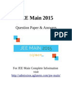JEE Main Question Paper & Official Key 11 Apr 2015