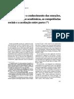 Relações Entre o Conhecimento Das Emoções,As Competências Académicas, As Competências Socias e o Reconhecimento Entre Pares