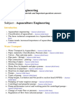 Aquaculture Engineering - Lecture Notes, Study Materials and Important questions answers