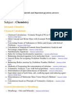 Chemistry - Lecture Notes, Study Materials and Important questions answers