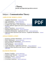Communication Theory - Lecture Notes, Study Materials and Important questions answers