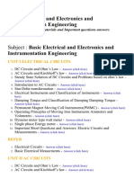 Basic Electrical and Electronics and Instrumentation Engineering - Lecture Notes, Study Materials and Important questions answers