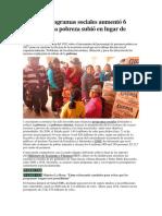 Gasto de Programas Sociales Aumentó 6 Veces Informe de la PCM