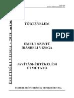 Történelem érettségi 2018 Emelt szint - Javítási útmutató