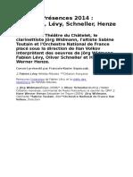 Festival Presences 2014 - Widmann, Levy, Schneller, Henze