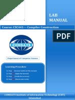 Lab Manual Compiler in C #