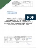 ULBS Regulamentul de Organizare Și Desfășurare a Concursului de Admitere La Programele de Studii Ale Universității Lucian Blaga Din Sibiu Pentru Anul Univ