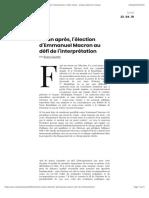 Un an après, l'élection d'Emmanuel Macron au défi de l'interprétation | AOC media - Analyse Opinion Critique