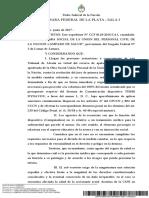 2017 06 01 Sala 1 CCF 8118-2016-CA1 S., L. D. c OS Union Del Personal Civil de La Nación