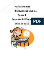 Igcse Business Paper 1 Mark Schemes 2012 to 2015